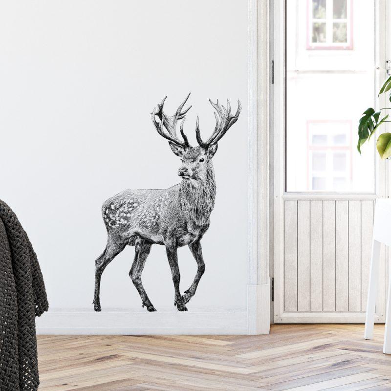 transparante Fine Forest muursticker damhert