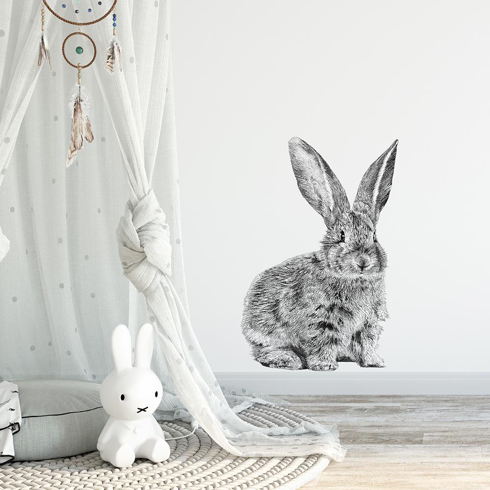 Fine Forest transparante muursticker europees konijn