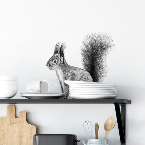 transparante Fine Forest muursticker rode eekhoorn
