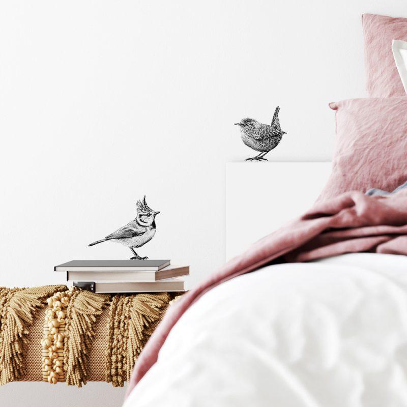 Fine Forest illustratie kuifmees en winterkoningkje, muursticker, muurdecoratie