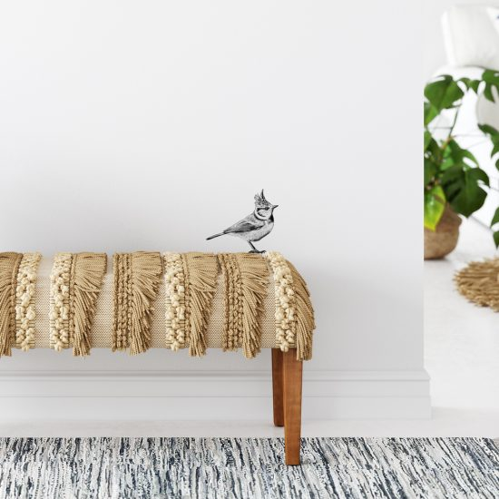 Fine Forest illustratie kuifmees, muursticker, muurdecoratie