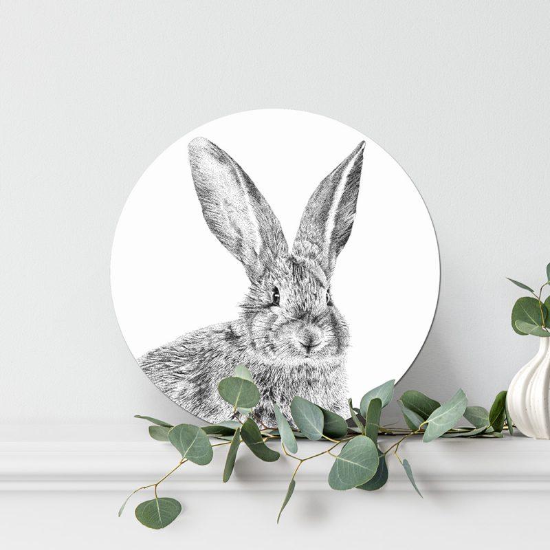 Fine Forest illustratie konijn, muurcirkel, wandcirkel, wanddecoratie
