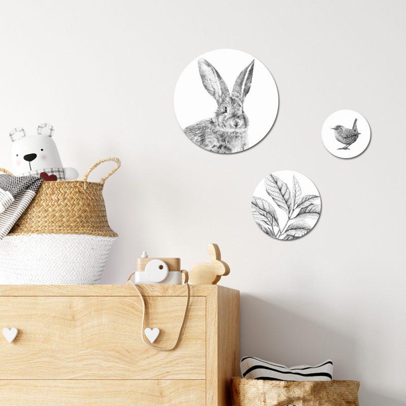 Fine Forest illustratie konijn, muurcirkels, wandcirkel, wanddecoratie
