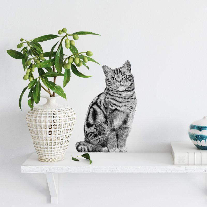 Fine Forest illustratie kat, Brits korthaar, poes, muursticker