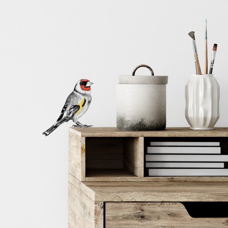 Muursticker putter, wall sticker goldfinch, Fine Forest