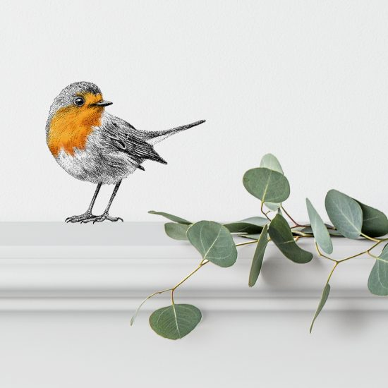Muursticker roodborstje, wall sticker red robin, Fine Forest