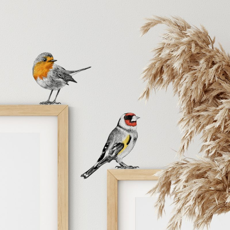Muursticker set roodborstje en putter, wall sticker set red robin and goldfinch, Fine Forest