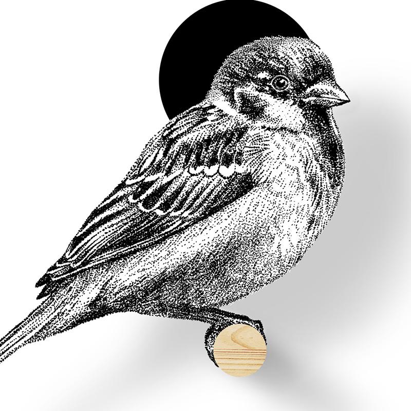 Vogelhuisje mus detail, Birdhouse sparrow, Fine Forest, muurdecoratie