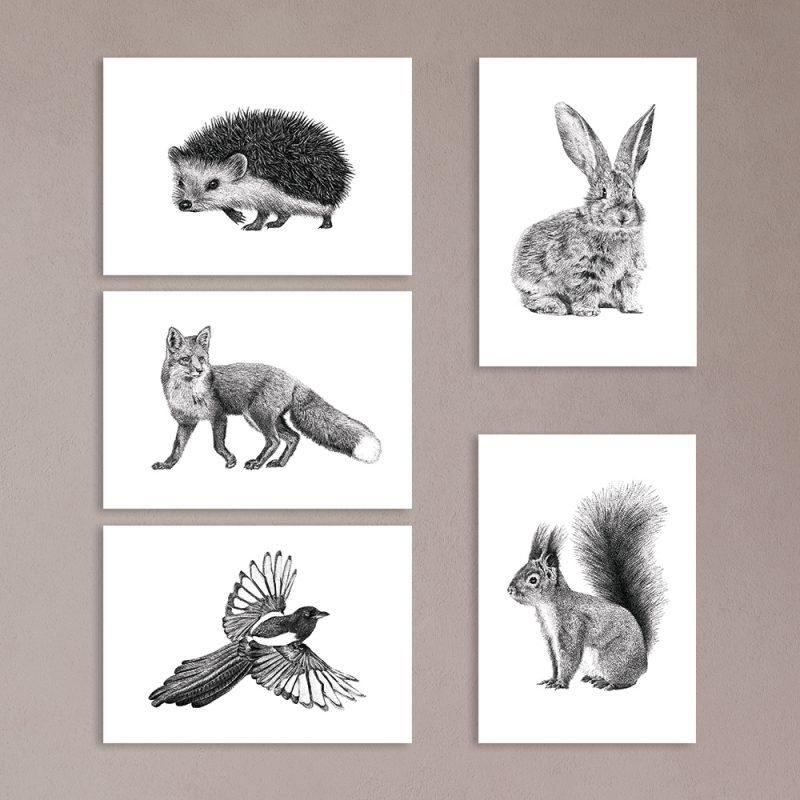 Bosdieren prints, kaarten, ansichtkaarten, rode eekhoorn, konijn, egel, rode vos, ekster, Fine Forest