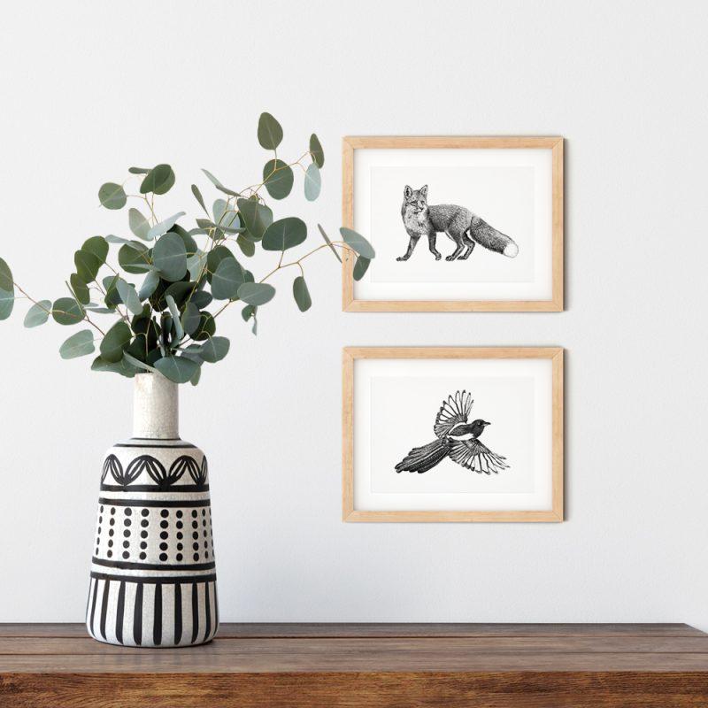 Vogel prints, kaarten, ansichtkaarten, rode vos, ekster, Fine Forest