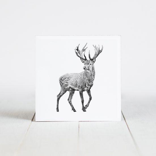 Tegel met Fine Forest illustratie, damhert, Fine Forest