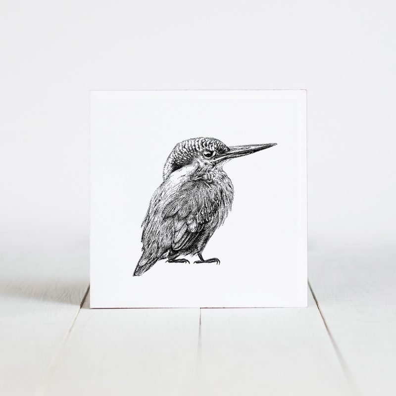 Tegel met Fine Forest illustratie, ijsvogel, Fine Forest