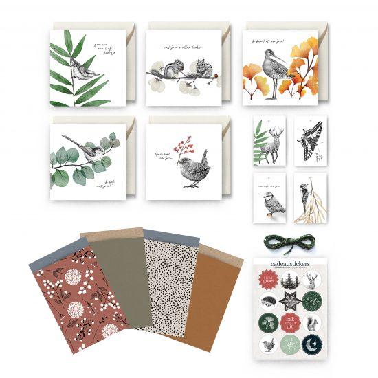 Cadeauset, inpakset, Fine Forest, kaarten, tags, stickers, cadeauzakjes